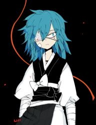 1boy blue_eyes blue_hair eyepatch hair_down japanese_clothes l_hakase male_focus sayo_samonji scar touken_ranbu