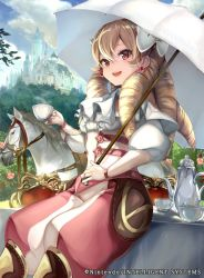 1girl bow capelet castle company_connection copyright_name cup drill_hair earrings fire_emblem fire_emblem:_kakusei fire_emblem_cipher hair_bow holding horse jewelry long_hair looking_at_viewer mariabel_(fire_emblem) official_art open_mouth outdoors pants parasol smile solo teacup teapot thighhighs umbrella