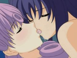 2girls animated animated_gif blue_hair blush daiakuji eyes_closed futa_with_female futanari kiss long_hair multiple_girls purple_hair saliva tongue