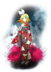 1girl absurdres arishiki blonde_hair blue_eyes flower hair_ornament hairband hairclip highres japanese_clothes kagamine_rin kimono looking_at_viewer short_hair solo standing vocaloid wind