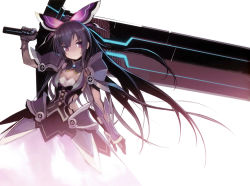 1girl absurdres armor bow breasts cleavage date_a_live dress gauntlets hair_bow hair_ornament highres huge_weapon long_hair looking_at_viewer namaniku_atk over_shoulder pauldrons purple_eyes purple_hair scan see-through_silhouette solo sword very_long_hair weapon weapon_over_shoulder yatogami_tooka