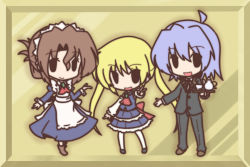 1boy 2girls ayasaki_hayate blonde_hair blue_hair brown_hair butler chibi folded_ponytail fushigi_ebi hayate_no_gotoku! long_hair maid maria_(hayate_no_gotoku!) multiple_girls sanzen'in_nagi tea_set twintails
