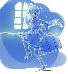1girl blue_eyes breasts cleavage commentary eye_scar iesupa myrtenaster ponytail rwby sneaking solo suitcase sweatdrop weiss_schnee white_hair window