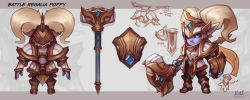 alternate_costume animal_ears armor artist_name blue_eyes buckler character_name concept_art fang gauntlets hammer helmet highres kienan_lafferty league_of_legends poppy scarf shield twintails weapon white_hair