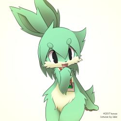 artist_request black_eyes censored furry green_hair open_mouth pussy rabbit