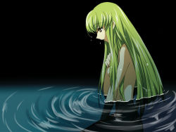 1girl breasts c.c. code_geass green_hair kokuchi long_hair nude partially_submerged sideboob solo wet wet_hair yellow_eyes