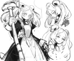 1girl amulet apron bloody_marie_(skullgirls) character_sheet commentary_request greyscale hair_ornament half-closed_eyes looking_at_viewer maid monochrome notoro short_hair silver_hair sketch skull skull_hair_ornament skullgirls solo twintails vacuum_cleaner white_background