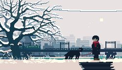 androgynous animated animated_gif black_hair blue_coat bridge city coat dog faceless grass ground_vehicle leash long_sleeves lowres original outdoors red_scarf scarf short_hair snow snowing standing sun toyoi_yuuta train tree winter