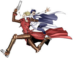 1boy 1girl blonde_hair blue_hair carrying cloak glasses gloves gun long_coat meryl_stryfe running shiga_sumito short_hair spiked_hair sunglasses trigun vash_the_stampede weapon