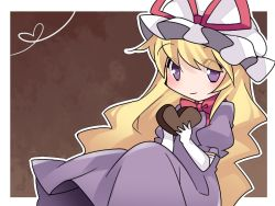 1girl blonde_hair commentary_request dress hammer_(sunset_beach) hat heart long_hair looking_at_viewer purple_dress purple_eyes revision smile solo touhou valentine yakumo_yukari