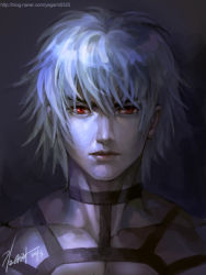 1boy 2013 kim_yura_(goddess_mechanic) male_focus muscle orochi_(kof) portrait red_eyes shirtless signature silver_hair solo the_king_of_fighters the_king_of_fighters_'97 watermark web_address