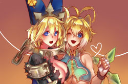 2girls :d ;d absurdres ahoge alternate_color alternate_eye_color alternate_hair_color althea_jade animal_ears antenna_hair artist_name blazblue blonde_hair blue_eyes breasts chains cleavage collar crop_top elphelt_valentine fingerless_gloves gloves guilty_gear guilty_gear_xrd highres large_breasts looking_at_viewer makoto_nanaya metal_collar multicolored_hair multiple_girls one_eye_closed open_mouth revealing_clothes smile spiked_collar spikes squirrel_ears tonfa two-tone_hair underboob weapon