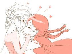 2girls anna_(frozen) azuma_yukihiko couple cuddling elsa_(frozen) freckles frozen_(disney) happy incest incipient_kiss monochrome multiple_girls siblings sisters sketch smile yuri