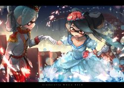 +_+ 2girls aori_(splatoon) black_hair blue_dress cinderella closed_mouth cousins crossdressing domino_mask dress earrings english epaulettes flower gloves grey_hair hair_flower hair_ornament hand_holding hotaru_(splatoon) jacket jewelry kashu_(hizake) layered_dress long_dress long_hair long_sleeves looking_at_another mask military military_uniform mole mole_under_eye multiple_girls open_mouth pants pointy_ears red_eyes red_pants short_hair short_sleeves smile splatoon stairs standing tentacle_hair uniform white_gloves white_jacket