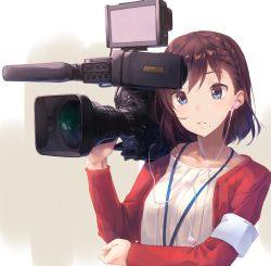 1girl blue_eyes braid brown_hair camera collarbone earbuds earphones filming holding holding_camera open_clothes open_mouth original shirt short_hair solo upper_body video_camera white_shirt yomo_(majidon)