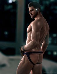 1boy 3d ass bara beard chris_redfield facial_hair gloves jockstrap male_focus resident_evil smile solo source_filmmaker underwear undressing