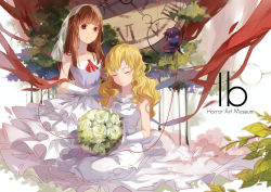 2girls blonde_hair bouquet brown_hair clock copyright_name doll dress elbow_gloves eyes_closed flower gloves highres ib ib_(ib) long_hair mary_(ib) multiple_girls red_eyes ribbon rose smile veil wedding_dress xiao_zhangyu