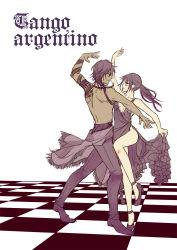 1boy 1girl breasts brown_hair checkered checkered_floor cleavage dancing dress english female_saniwa_(touken_ranbu) grey_eyes high_heels ookurikara ponytail saniwa_(touken_ranbu) shirtless tattoo touken_ranbu tsugumi_(uzurabird)