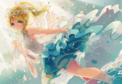 1girl angel_wings ayase_eli ballet_slippers bare_shoulders blonde_hair blue_eyes dutch_angle itamidome love_live!_school_idol_project ponytail smile solo tears wading wings