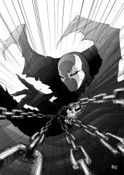 1boy cape chains male_focus mask monochrome n8 skull solo spawn spawn_(spawn) spikes superhero white_background