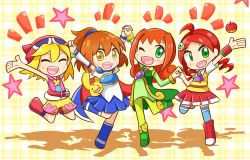 4girls ally_(puyopuyo) amitie amitie_(puyopuyo) andou_ringo apple arle_nadja blonde_hair boots bracelet brown_eyes brown_hair carbuncle_(puyopuyo) eyes_closed green_eyes hair_ornament hand_holding happy looking_at_viewer madou_monogatari multiple_girls one_eye_closed open_mouth orange_hair puyopuyo puyopuyo_fever red_hair shorts simple_background skirt smile wink