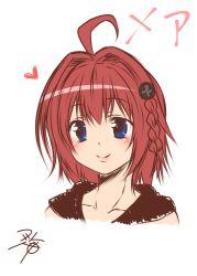 1girl ahoge blue_eyes blush heart kurosaki_mea red_hair short_hair simple_background smile solo to_love-ru to_love-ru_darkness white_background yua_(checkmate)