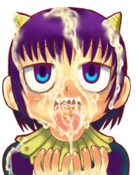 blue_eyes blush bukkake cum cum_in_mouth demon_girl dress facial horns konjiki_no_gash!! laila loli looking_up open_mouth purple_hair sharp_teeth shogakukan short_hair tongue_out