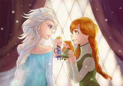 2girls anna_(frozen) blonde_hair braid crown curtains doll elsa_(frozen) frozen_(disney) ian_(littleian) incest incipient_kiss multiple_girls orange_hair siblings single_braid sisters twin_braids window yuri