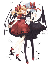 2girls :d absurdres ankle_bow ankle_ribbon arms_at_sides artist_name ascot bangs bare_arms bare_shoulders bat bat_wings black_ascot black_dress black_hat black_legwear black_shoes black_wings blonde_hair blue_hair bow breasts buttons cleavage_cutout closed_mouth commentary_request dress eyebrows_visible_through_hair eyelashes fang flandre_scarlet frilled_dress frilled_skirt frills full_body hair_between_eyes hair_bow hair_ornament hand_up hat hat_bow highres legs_together low_wings multiple_girls open_mouth pantyhose puffy_short_sleeves puffy_sleeves red_bow red_dress red_eyes red_hat red_ribbon red_shoes remilia_scarlet ribbon shoes short_dress short_hair short_sleeves siblings side-by-side side_ponytail simple_background sisters skirt sleeveless sleeveless_dress small_breasts smile spread_wings touhou white_background wings yuan_jiu
