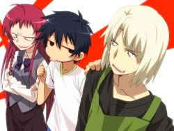 1girl 2boys ahoge angry apron ashiya_shirou black_hair blonde_hair bowtie braid crossed_arms evil_smile formal green_eyes hand_on_shoulder hataraku_maou-sama! long_hair maou_sadao multiple_boys office_lady pocho pointing red_hair simple_background skirt_suit smile solid_circle_eyes suit sweat sweatdrop t-shirt yusa_emi