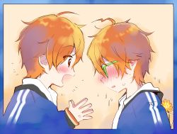 2boys ahoge akame_(eckesachs) aoi_kyosuke aoi_yusuke blush brothers idolmaster idolmaster_side-m incest multiple_boys open_mouth orange_hair siblings smile twincest twins yaoi