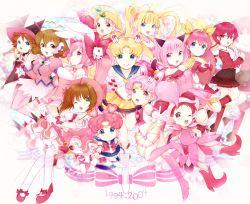 3girls 6+girls 90s ;d angel_peach bishoujo_senshi_sailor_moon bishoujo_senshi_sailor_moon_sailor_stars bishoujo_senshi_sailor_moon_supers blonde_hair blue_eyes blue_skirt boots bow brown_hair card_captor_sakura chibi_chibi chibi_usa child color_connection corrector_yui crossover di_gi_charat dress eternal_sailor_moon fuuin_no_tsue hanasaki_momoko harukaze_doremi kasuga_yui kinomoto_sakura magic_knight_rayearth magical_girl mahou_tsukai_tai! mermaid_melody_pichi_pichi_pitch mew_ichigo momomiya_ichigo momoshiki_tsubaki multiple_crossover multiple_girls nanami_lucia ojamajo_doremi one_eye_closed open_mouth pink pink_bow pink_hair pink_legwear princess_silver red_bow sailor_chibi_chibi sailor_chibi_moon sailor_moon sawanoguchi_sae shidou_hikaru short_hair skirt smile source_request super_sailor_chibi_moon super_sailor_moon tokyo_mew_mew tsukino_usagi usada_hikaru wand wedding_peach white_background white_legwear yellow_bow yume_no_crayon_oukoku