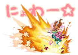 1girl :3 blue_legwear boots brown_hair catchphrase clenched_hand colorful dress explosion fatal_fury fighting_stance fire frilled_skirt frills hair_ornament hair_ribbon higashiyama_hayato idolmaster idolmaster_cinderella_girls king_of_fighters long_hair moroboshi_kirari pantyhose pink_boots pink_dress pink_legwear ribbon skirt solo special_moves terry_bogard the_king_of_fighters thighhighs twintails zettai_ryouiki