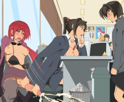 4girls ahegao between_breasts black_hair blinds bored bra breasts bulge casual ceiling chin_rest clenched_hand covering cum drooling ejaculation embarrassed erection flush formal futa_with_female futanari glasses hairband handjob highres indoors jajala knees large_penis lecturing lingerie lipstick long_hair makeup multiple_girls nervous office office_lady open_clothes open_shirt orgasm overflow pen penis ponytail poster public public_sex red_glasses red_hair sex short_hair squatting stain stare stealth_sex stern suit sunglasses sweat talking thighhighs tied_hair trash_can uncensored underwear very_long_hair wall window