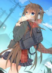 1girl bag blue_eyes brown_hair coat digital_media_player dumpling dutch_angle eating headphones kazato_fuuchi looking_at_viewer original plaid plaid_skirt pleated_skirt scarf school_bag skirt solo steam