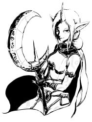 1girl cape ear_piercing earrings fingerless_gloves gloves greyscale horn jewelry league_of_legends looking_at_viewer monochrome n-desion piercing pointy_ears ponytail solo soraka staff tattoo