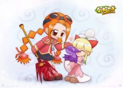 2girls blonde_hair braid capelet copyright_name dragon drill goggles goggles_on_head gurumin heart holding_weapon howxu multiple_girls orange_hair oversized_clothes oversized_zipper parin petting pino_(gurumin) tokaron twin_braids weapon western_dragon