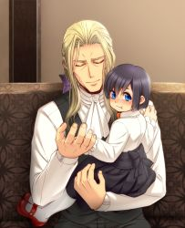 1boy 1girl :t banana_gyuunyuu black_hair blonde_hair blue_eyes blush bow child commentary_request eyes_closed hair_bow hair_ribbon kingdom_hearts kingdom_hearts_358/2_days long_hair looking_at_viewer ribbon short_hair sitting size_difference skirt sweatdrop tears vest vexen xion_(kingdom_hearts) younger