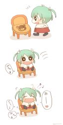 1girl beamed_quavers blush chair chibi comic commentary_request eyes_closed green_hair hair_between_eyes hair_ribbon heart ina_(1813576) japanese_clothes kantai_collection long_hair musical_note quaver ribbon simple_background sitting smile solo speech_bubble spoken_heart spoken_musical_note thought_bubble twintails white_background white_ribbon zuikaku_(kantai_collection)
