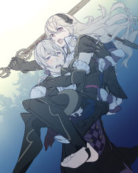 1boy 1girl armor barefoot blush cape carrying dagger dutch_angle feet fire_emblem fire_emblem_if frills gauntlets gloves grey_eyes hair_between_eyes hair_ribbon hairband joker_(fire_emblem_if) long_hair looking_at_another looking_at_viewer low_ponytail my_unit_(fire_emblem_if) no_shoes open_mouth pink_eyes ponytail purple_eyes ragu00 ribbon sketch stirrups sword toeless_legwear toes tree vest wavy_hair weapon white_hair