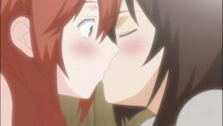2girls blush kiss long_hair matsu_(sekirei) multiple_girls musubi red_hair sekirei yuri