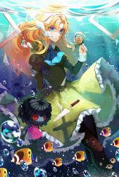 1girl angelfish ayan blonde_hair blue_eyes bubble doll dress fish flower green_dress ib long_hair looking_at_viewer mary_(ib) pantyhose picture_frame rose underwater yellow_rose