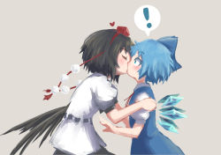 2girls blush cirno couple female heart highres ice ice_wings kiss multiple_girls roke_(taikodon) shameimaru_aya simple_background surprised touhou wings yuri