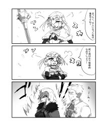 3koma absurdres anger_vein archer aura capelet comic commentary_request crossed_arms depo_(typebaby505) fate/grand_order fate_(series) greyscale hair_ribbon headpiece highres jeanne_alter jeanne_alter_(santa_lily)_(fate) monochrome ribbon ruler_(fate/apocrypha) sketch speech_bubble sweatdrop translation_request