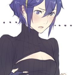 ... 1girl alternate_hair_length alternate_hairstyle blue_eyes blue_hair blush cleavage_cutout fingerless_gloves fire_emblem fire_emblem:_kakusei gloves hairband lowres lucina open-chest_sweater parted_lips payot ribbed_sweater short_hair small_breasts solo sweater turtleneck tusia very_short_hair