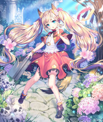 1girl animal_ears blonde_hair blue_eyes blush eyebrows_visible_through_hair flower fox_ears fox_tail hair_bobbles hair_ornament holding_briefcase hydrangea long_hair looking_at_viewer original parted_lips roang skull solo tail tree twintails