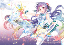 1girl :d bird bowtie commentary_request dove flower hair_flower hair_ornament hair_ribbon hairclip hat hat_removed hat_ribbon headwear_removed microphone microphone_stand musical_note open_mouth purple_hair red_eyes ribbon sibyl skirt smile solo staff_(music) thighhighs top_hat vocaloid white_legwear wristband xin_hua