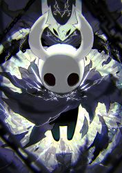 aura backlighting black_skin blurry cape chains chromatic_aberration cloak depth_of_field energy floating highres hollow_knight horns mamuru torn_clothes