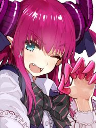1girl artist_request blue_eyes bowtie claws fangs fate/extra fate/extra_ccc fate_(series) frills gothic_lolita hair_ribbon horns lancer_(fate/extra_ccc) lolita_fashion long_hair looking_at_viewer one_eye_closed open_mouth pink_hair pointy_ears ribbon simple_background solo tagme two_side_up upper_body white_background