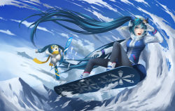 1girl absurdres aqua_eyes aqua_hair artist_request boots cloud gloves goggles goggles_on_head hat hatsune_miku highres lips open_mouth sky snow snowboard solo teeth twintails vocaloid winter